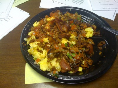 8 eggs. 1/4 lb. bacon. 1/4 lb. brisket. Pico, cheese, and salsa.
