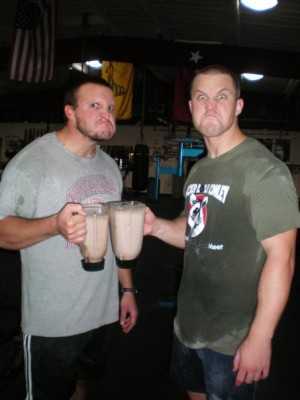 Chris and I drinking 70's Big shakes when we were skinnier