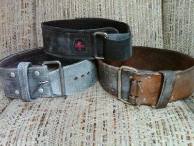 L to R: suede, velcro, and leather belts