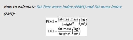 The FFMI formula for reference, taken directly from the Romano/Roberts article.